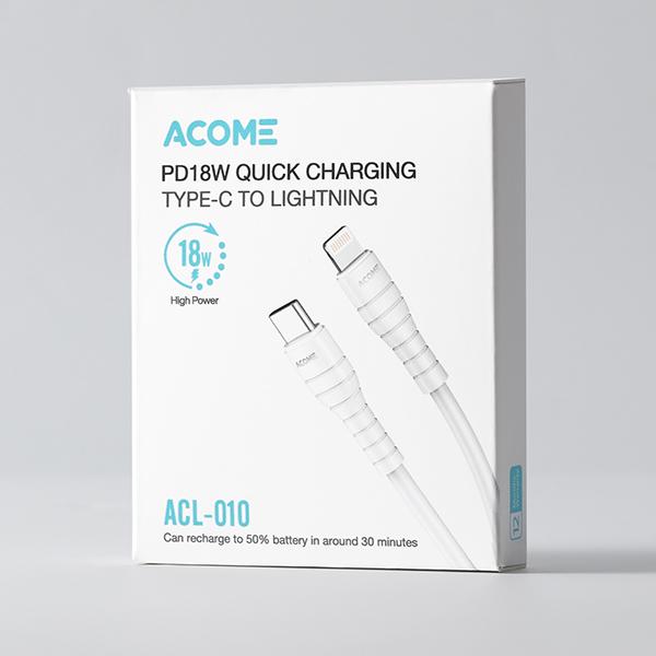 Cáp Sạc iPhone ACOME ACL-010 Sạc Nhanh 18W PD Lightning to USB-C Cho iPhone 8 XR XSmax 11 12- Hàng Chính Hãng