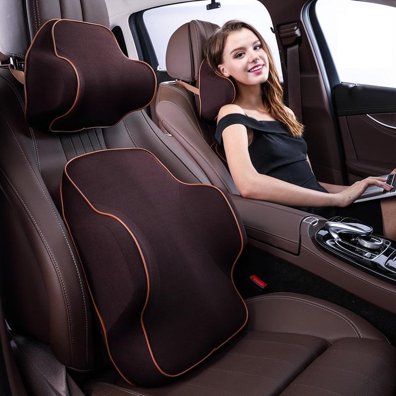 Bộ gối tựa đầu và tựa lưng ô tô,xe hơi chất liệu Cao Su Non Cao Cấp-SIÊU ĐÀN HỒI