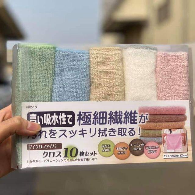 Set 10 khăn lau nhà bếp cao cấp siêu thấm hút Nội địa Nhật Bản