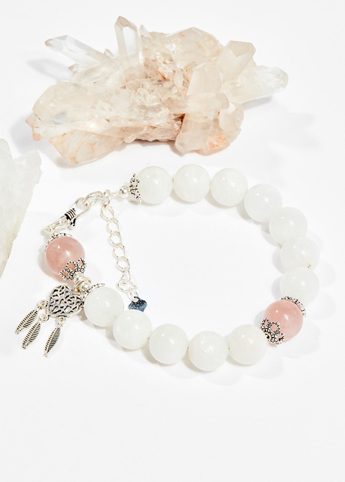 Vòng tay phong thủy nữ đá xà cừ trắng charm dreamcatcher 8mm mệnh thủy , kim - Ngọc Quý Gemstones
