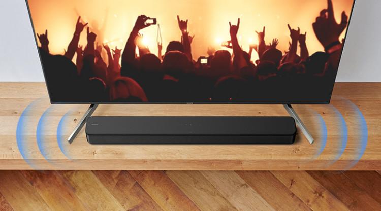 Kết nối với một cáp HDMI ARC để truyền tải tín hiệu âm thanh từ TV với Loa thanh Sony HT-S100F