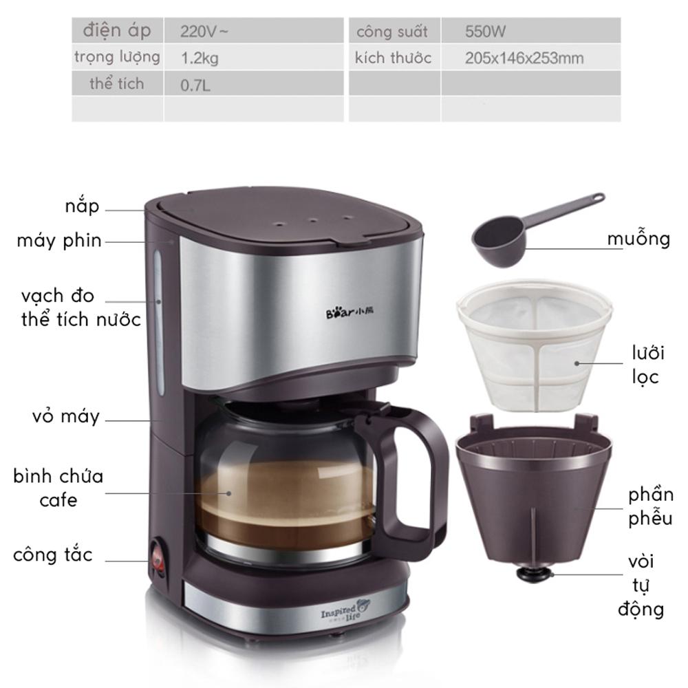 Máy pha trà pha cà phê gia đình 0.7L Bear, Thiết kế sang trọng 550W, chống nhỏ giọt - Giao màu ngẫu nhiên