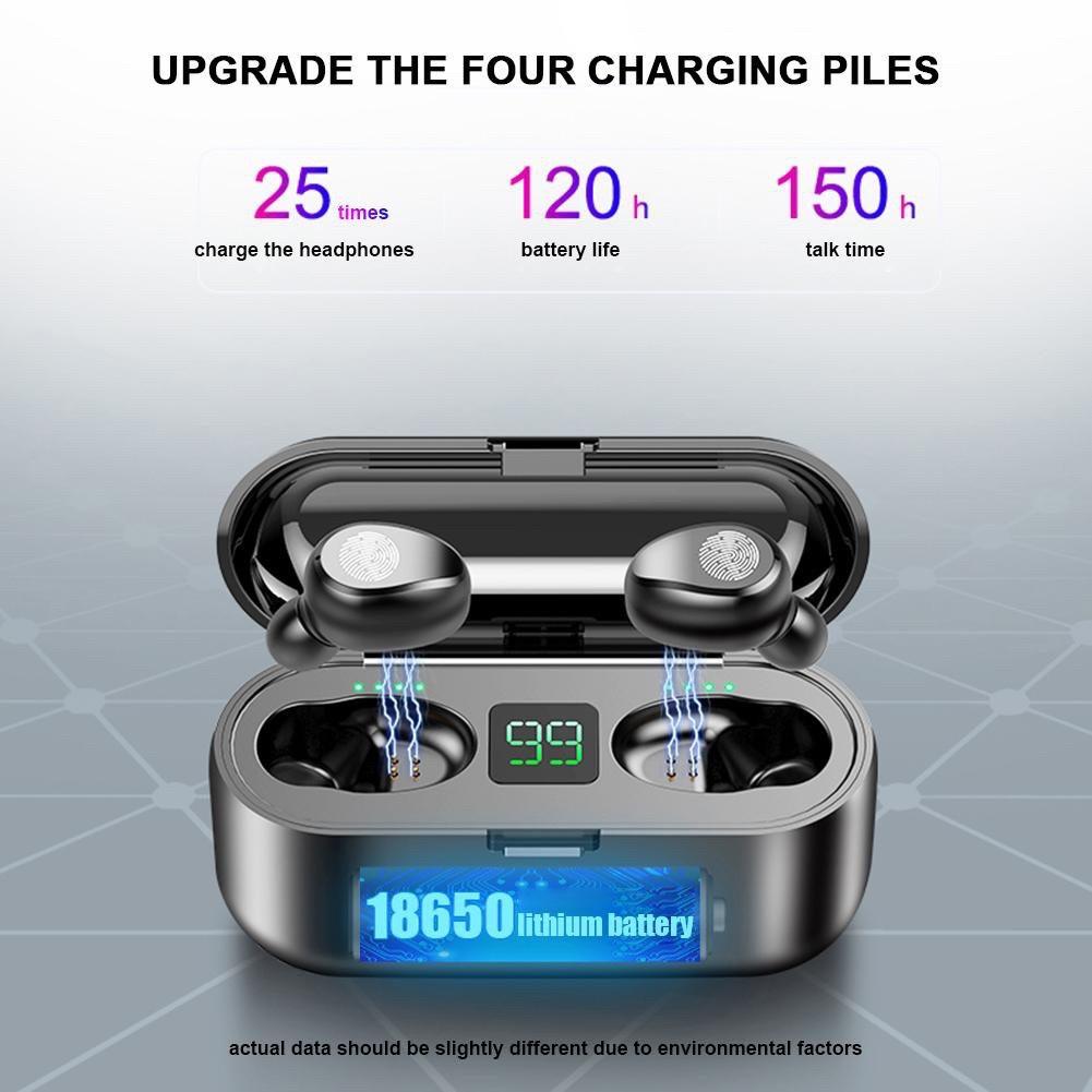 Tai nghe bluetooth TWS F9 quốc tế True Wireless không dây kèm dock sạc 2000 mah