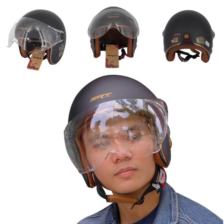 Mũ Bảo Hiểm 3/4 Viền Đồng Cao Cấp Có Lỗ Thông Thoáng Kính Càng - Mũ Bảo Hiểm Phượt