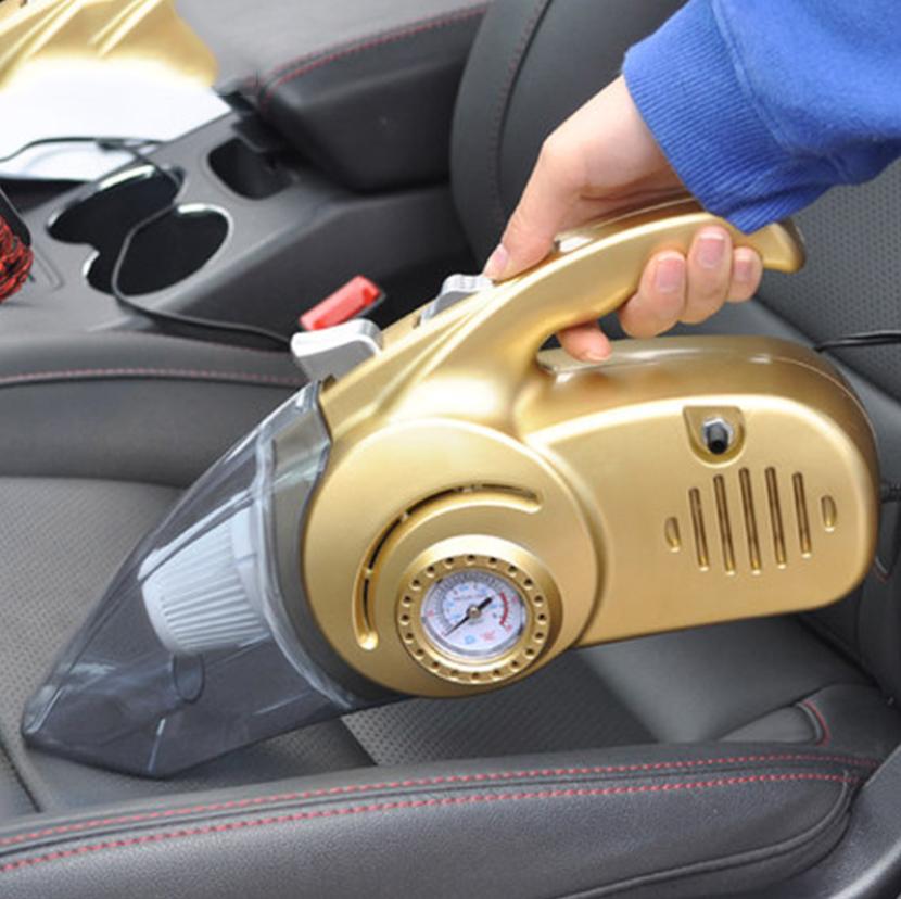 Máy hút bụi ô tô, xe hơi đa năng 4 trong 1 Hút bụi, kiêm bơm lốp xe, đo áp xuất và đen pin chiếu sáng