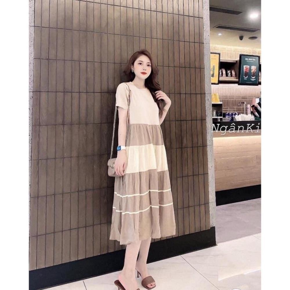 Váy bầu thời trang thiết kế ba tầng M134 chất cotton pha đũi freesize từ 45 đến 70kg