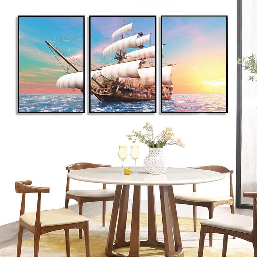 Bộ 3 tranh canvas Thuận buồm xuôi gió T010 (40x60)