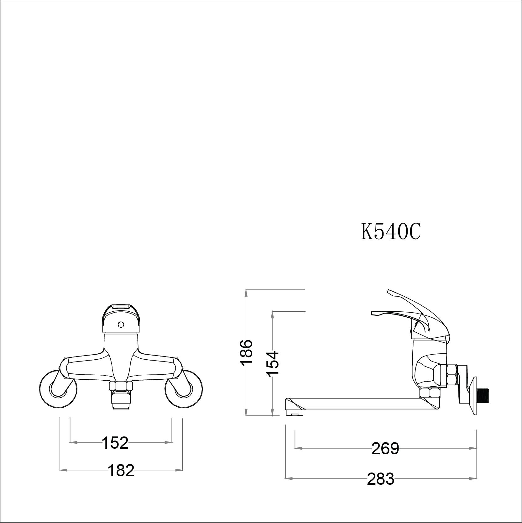 Vòi rửa bát (chén) nóng lạnh gắn tường Caesar K540C - chiều dài vòi 275mm
