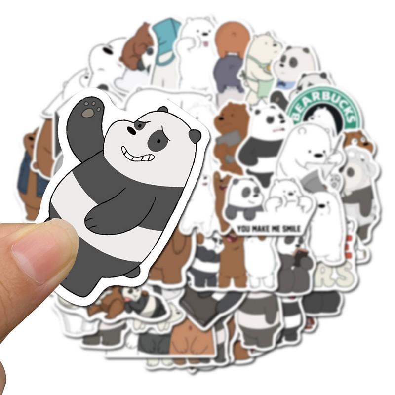 Sticker 50 miếng hình dán 3 chú gấu We bare bears
