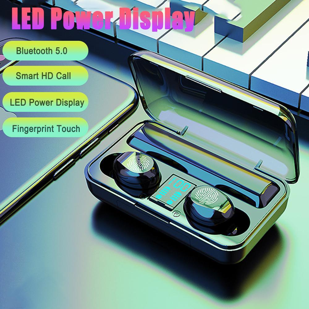 Tai Nghe Bluetooth TWS F95 Tai Nghe Nhét Tai Nút Bấm Cảm Ứng Hiển thị pin LED + ghép nối bật nguồn tự động + Hiệu ứng âm thanh +Túi Đựng Cao Cấp- Hàng Chính Hãng