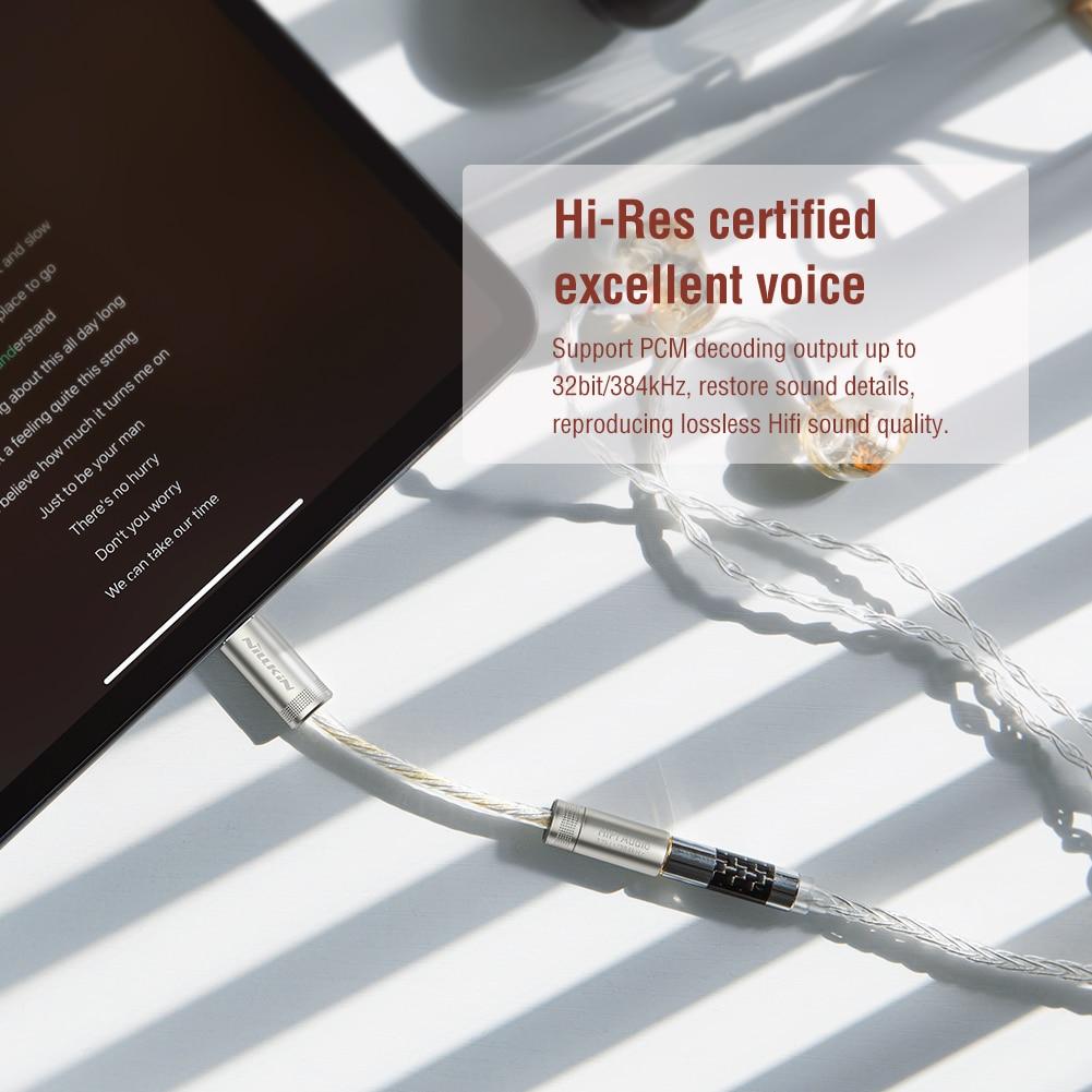 Đầu chuyển adapter Type-C sang jack tai nghe Audio 3.5mm hiệu Nillkin DAC Decoding Amplifier Pro truyền tải âm thanh 32bit / 384kHz - hàng chính hãng