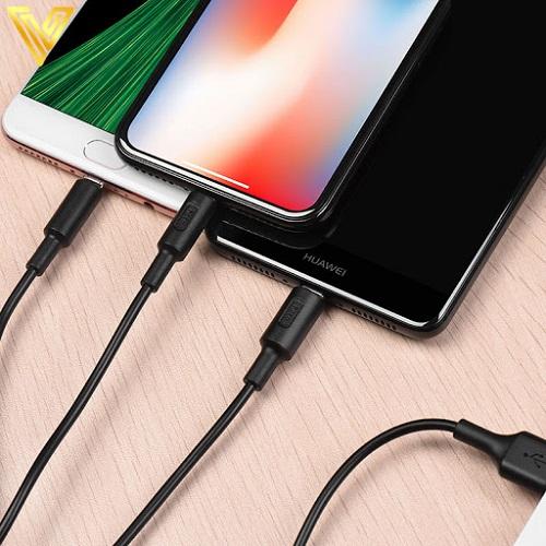 Dây sạc nhanh 2A Hoco 3 cổng Lightning + Micro + Type C hỗ trợ sạc điện thoại Apple và Android dài 1m - Hàng chính hãng