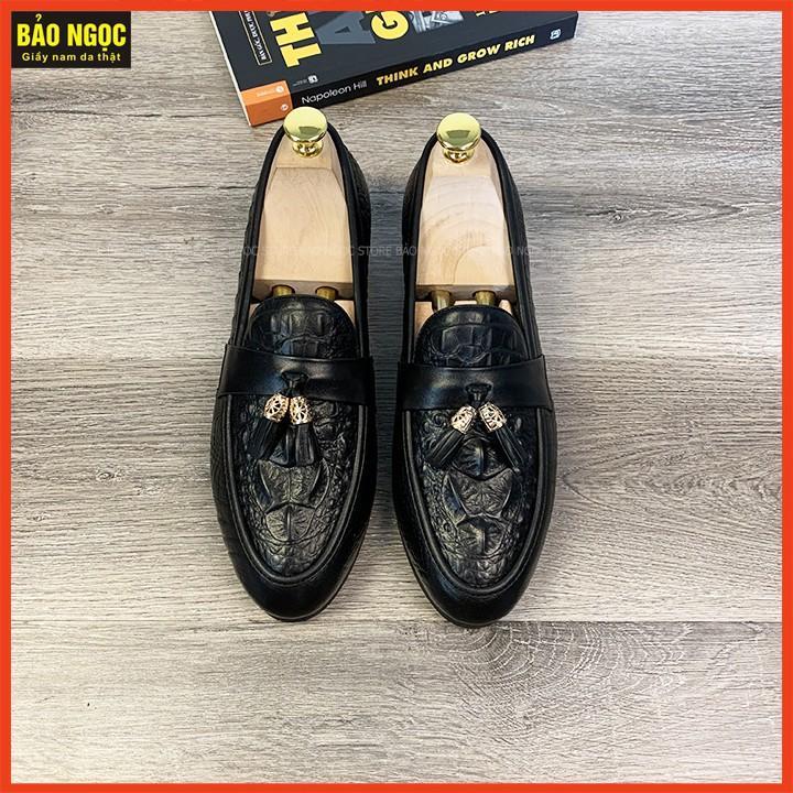 Giày Lười Nam Da Pu Dập Vân Cá Sấu - Băng Chuông Thời Trang - Đế Cao Su Đúc  - Mã K1868 Màu Đen
