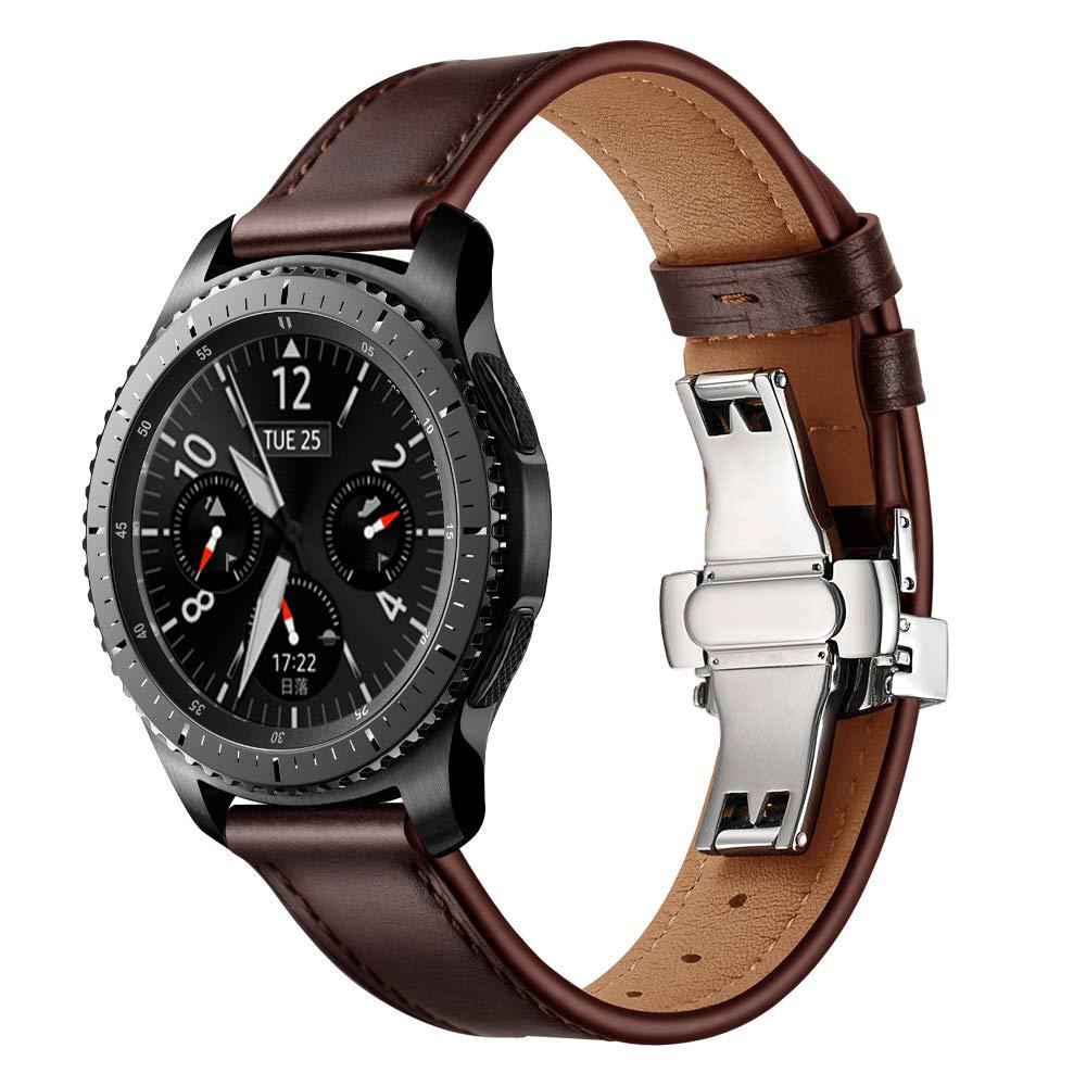 Dây Da màu Coffee Size 22mm Khóa Bướm Chống Gãy Cho Galaxy Watch 46, Gear S3, Huawei Watch GT 2, Fossil