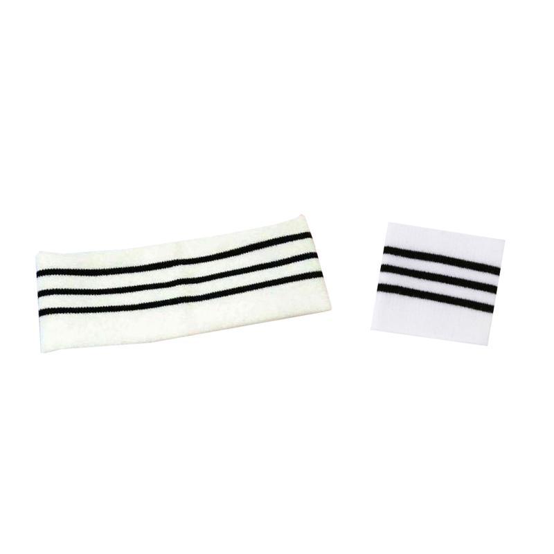 Combo 2 món băng đô băng tay trắng kẻ đen thể thao phong cách Hàn Quốc