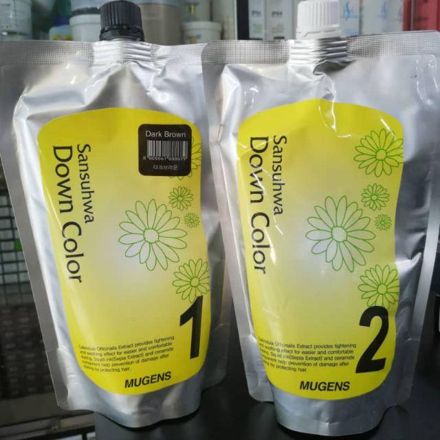 Thuốc nhuộm tóc phủ bạc Mugens Sansuhwa Color Hàn Quốc Số 2 Nâu Đen: Dark Brown 2x450ml + Móc khóa