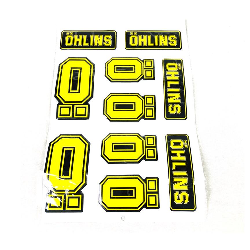 Tem dán trang trí xe máy kiểu Ohlins ( 1 Tấm Kiểu Ngẫu Nhiên ) Green Networks Group