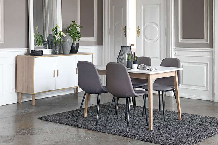 Ghế Bàn Ăn Jonstrup Bọc Vải Xám JYSK Basic (43 x 84 x 53 cm)