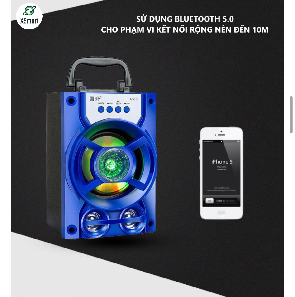 Loa Bluetooth Không Dây XSmart GS13 Pro Xách Tay Loại 1 Âm Thanh Hay Siêu Trầm, Led Nháy Theo Nhạc, Super Bass Nghe EDM, REMIX - Hàng Chính Hãng