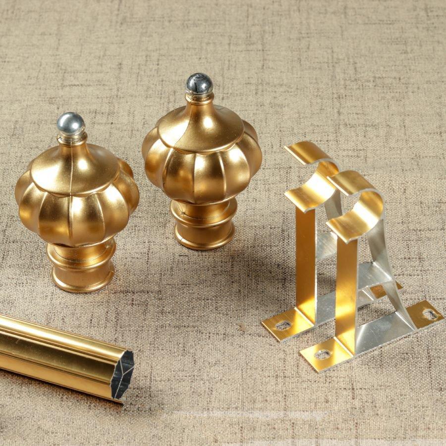 Rèm cửa vải LUCYM39-7 có thanh treo hợp kim nhôm màu vàng đồng đầu nhọn - cao cố định 2m7