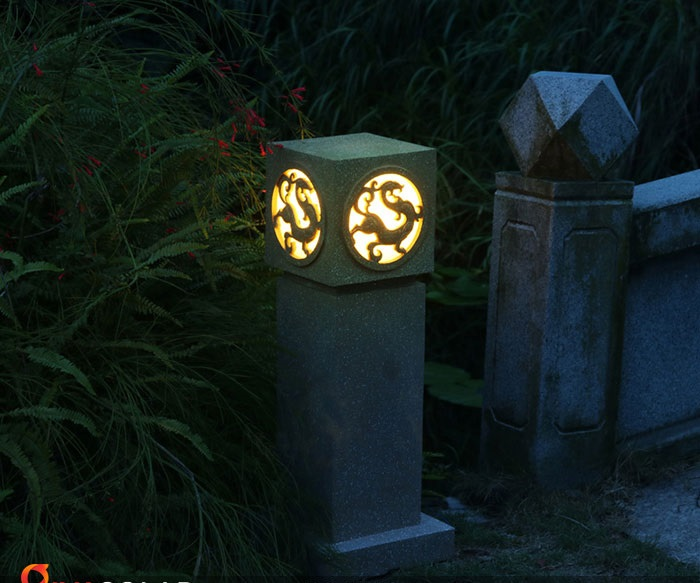 Đèn trụ đá chiếu sáng sân vườn cực sang GIVASOLAR GVL-1909