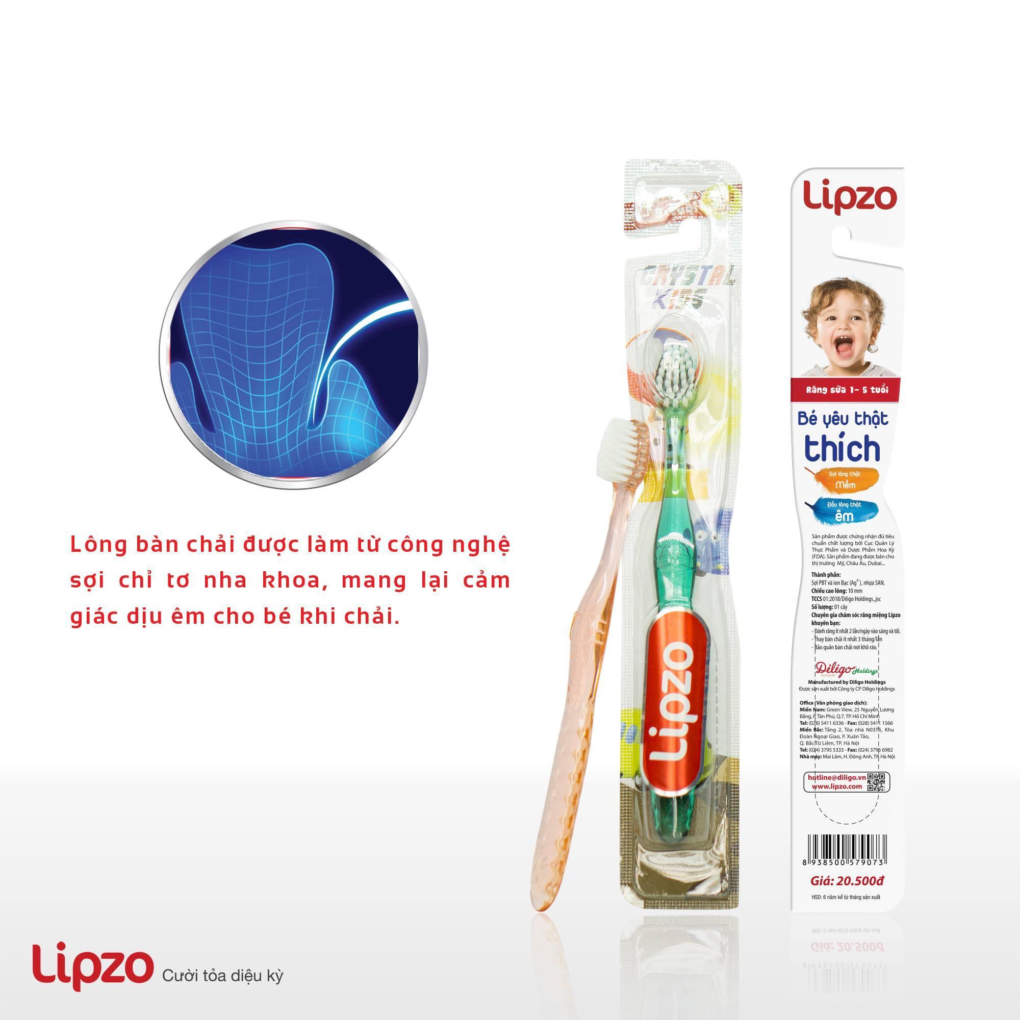 Combo 03 Bàn chải Lipzo Crystal Kids (Giao màu ngẫu nhiên)