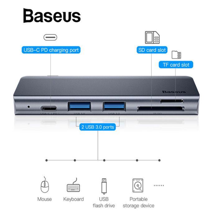 Bộ chuyển đổi 5 trong 1 dành cho laptop Baseus CAHUB-K0G công suất 60W - hàng chính hãng