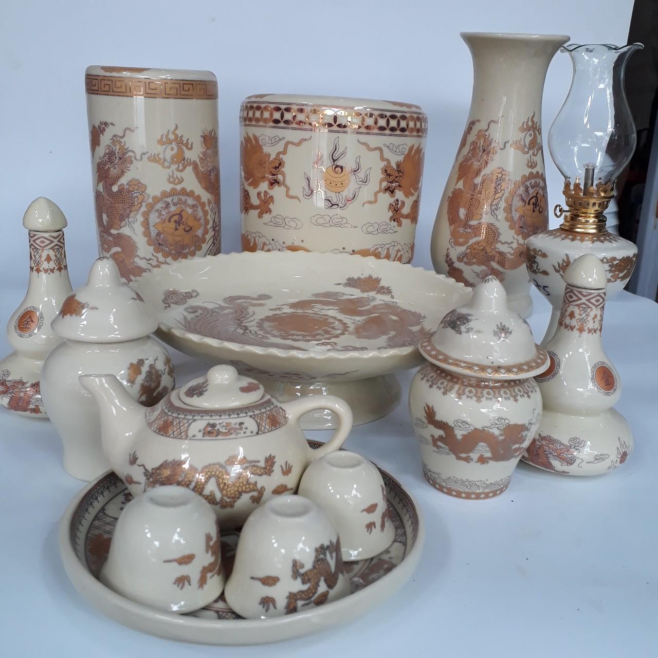 Bộ 2 chéo thờ -  hũ đựng muối, gạo dùng cho ban thờ thần tài, bàn thờ gia tiên- vàng kim