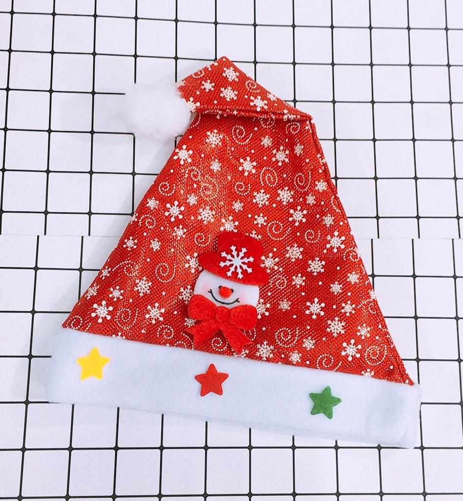 Combo 2 Mũ ông già Noel Giáng Sinh hình bông tuyết đính họa tiết nổi loại đẹp