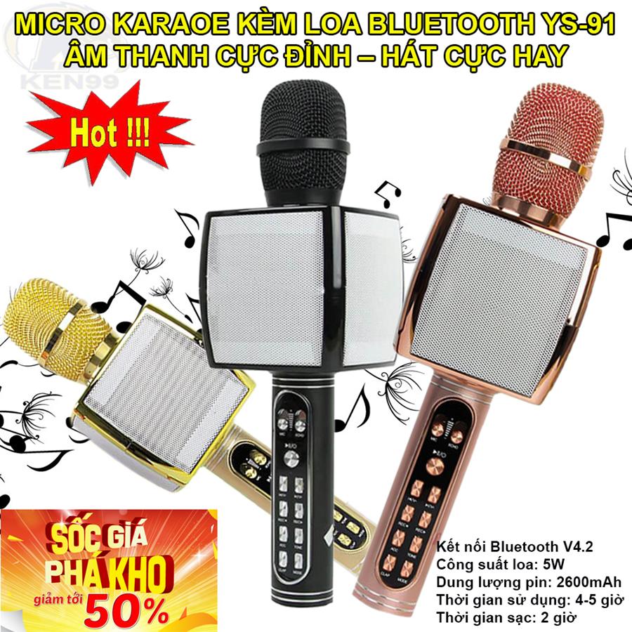 Mic Hát Karaoke Kèm Loa Bluetooth YS-91, Âm thanh cực đỉnh - Hát Cực Hay