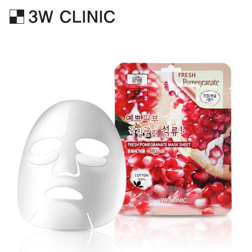 Combo 10 Gói Mặt Nạ Làm trắng và Cải thiện lão hóa Chiết Xuất Lựu 3W Clinic Fresh Pomeranate Mask Sheet (23ml x 10) - Hàn Quốc Chính Hãng