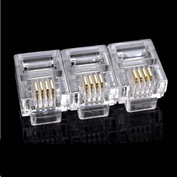 Hạt đầu bấm RJ11 Cat3  loại rj11 6p4c-Hạt thoại(100 hạt)