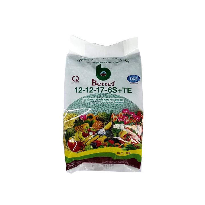 Phân bón Better xanh 12-12-17-6S (1kg/gói)   Chống rụng hoa và trái non   Chuyên dùng cho mọi loại cây