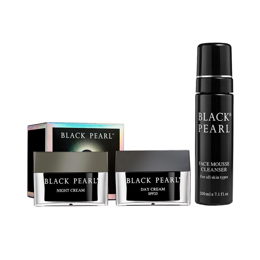 Combo Black Pearl Basic Total Skincare - Sữa Rửa Mặt Dạng Bọt Black Pearl + Kem Dưỡng Ngày SPF 25 Cho Da Khô & Rất Khô + Kem dưỡng đêm Black Pearl - Xuất Xứ Israel - Chống lão hóa toàn diện - Cho da tươi trẻ tràn sức sống