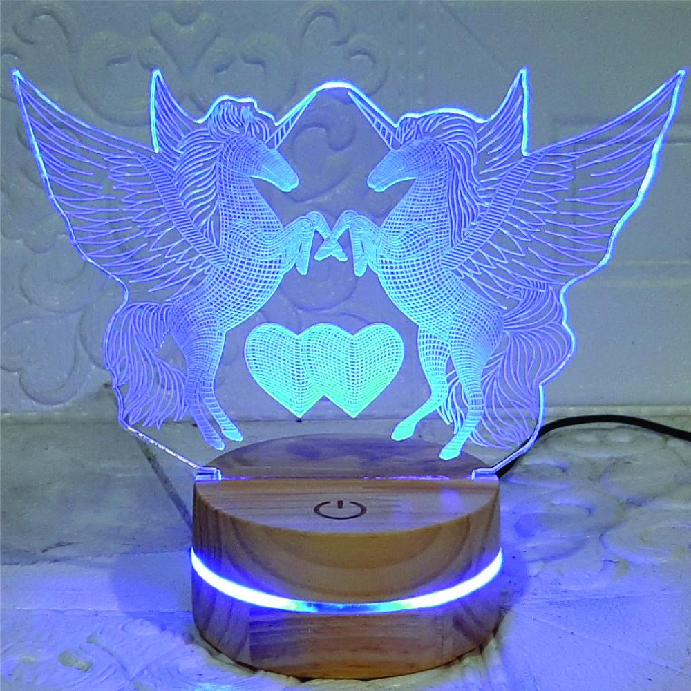 Đèn Ngựa đôi, Kì lân, Đèn Trang trí, đèn 3D led, Đèn ngủ đổi màu, Đèn 16 màu thay đổi, Đế gỗ thân thiện, điều khiển từ xa tiện lợi, Quà tặng ý nghĩa, quà lưu niệm, thiết bị chiếu sáng nhà cửa, bàn làm việc