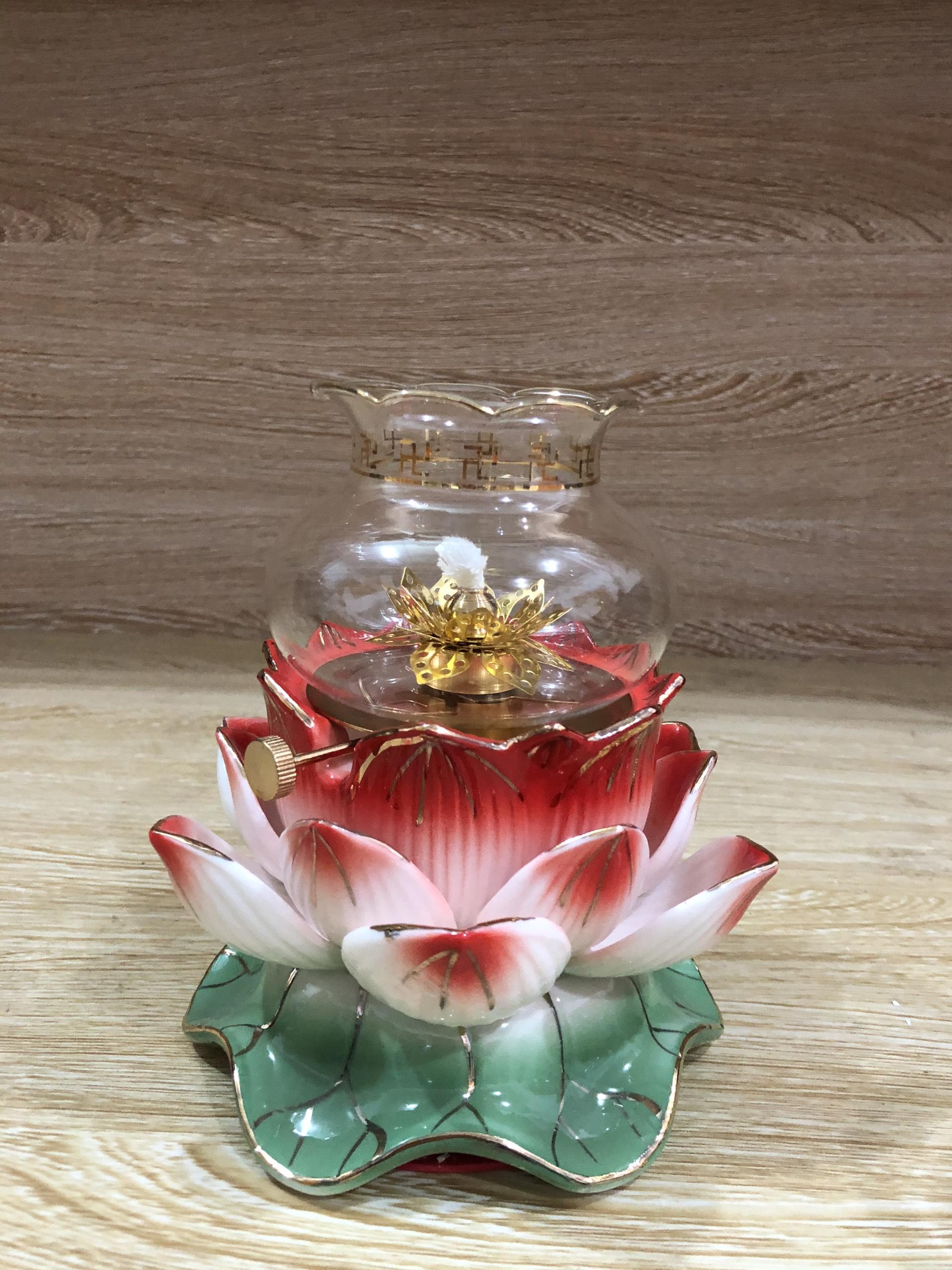 Đèn thờ đốt dầu mẫu hoa sen đế xanh - BH33