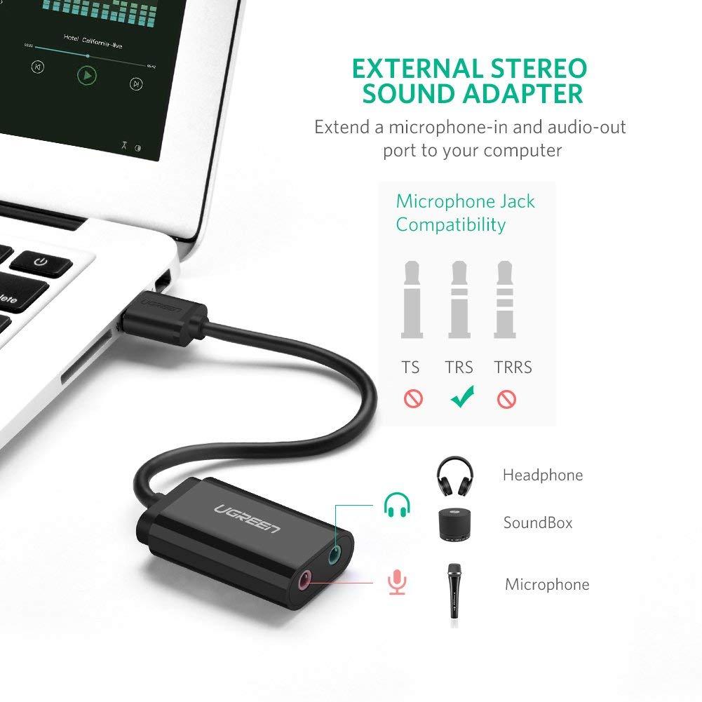 Dây USB 2.0 mở rộng sang đồng thời 2 cổng 3.5mm cho tai nghe + mic, không cần driver UGREEN US205  30724 - Hàng Chính Hãng