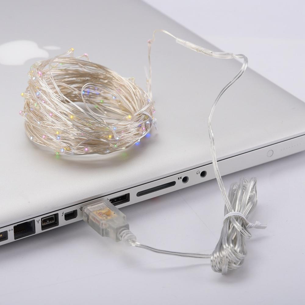 [Đầu cắm USB] Đèn đom đóm chipsbling dây đồng phủ cách điện màu Sliver thanh nhã
