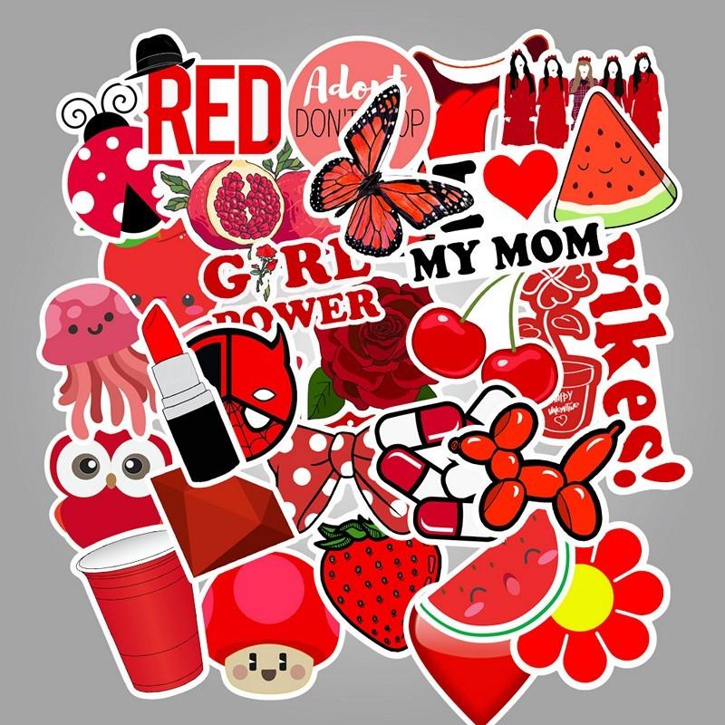 Bộ 50 miếng Sticker hình dán Red Stub