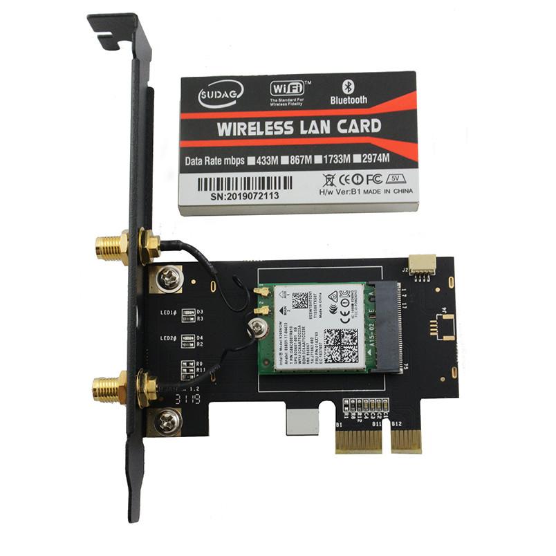 Card WIFI PC 7260 AC tích hợp Bluetooth 4.0 tốc độ 867Mbps cho máy bàn dùng chip Intel AC7260