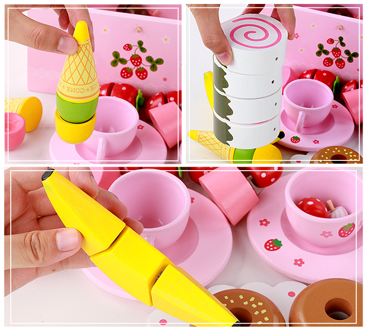 Đồ Chơi Gỗ - Tiệc bánh ngọt hồng, đồ chơi mô phỏng đáng yêu cho bé gái ngọt ngào và xinh xắn