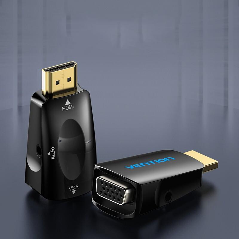 Đầu chuyển đổi HDMI to VGA có hỗ trợ cổng audio 3.5mm VENTION AIDB0 - Hàng chính hãng