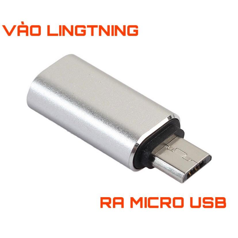Đầu chuyển Lightning sang Micro Usb Jack chuyển cho máy andoird và iphone adapter ( Vào Lightning Ra Micro Usb )