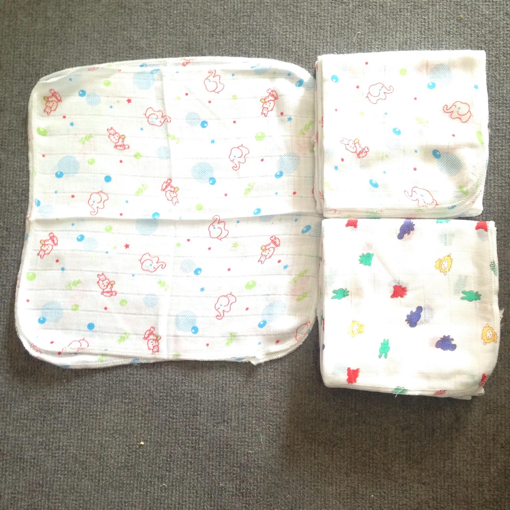 Khăn sữa cotton có hình cho bé - Họa tiết ngẫu nhiên ( Set 10 cái)