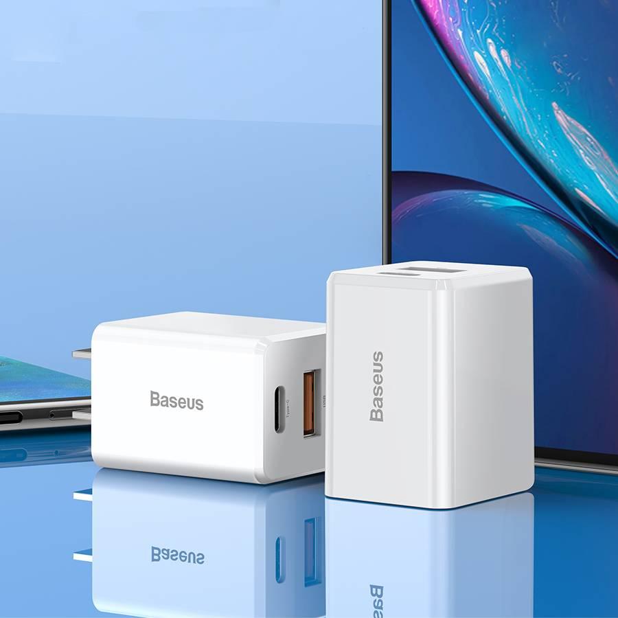 Adapter củ sạc nhanh đa năng 18W cho Smartphone /Tablet / Macbook hiệu Baseus Traveler PPS Quick Charger (2 cổng USB + Type C, sạc nhanh PD, Quick charge 3.0) - Hàng chính hãng
