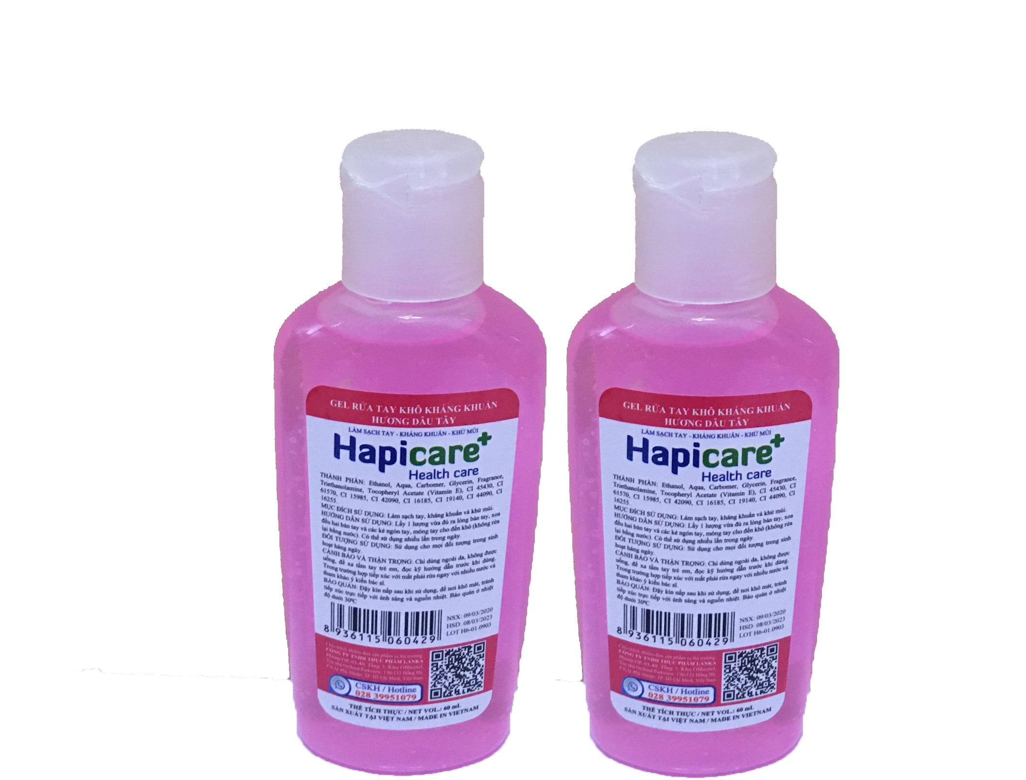 Combo 2 chai gel rửa tay khô Hapicare Dâu 60ml