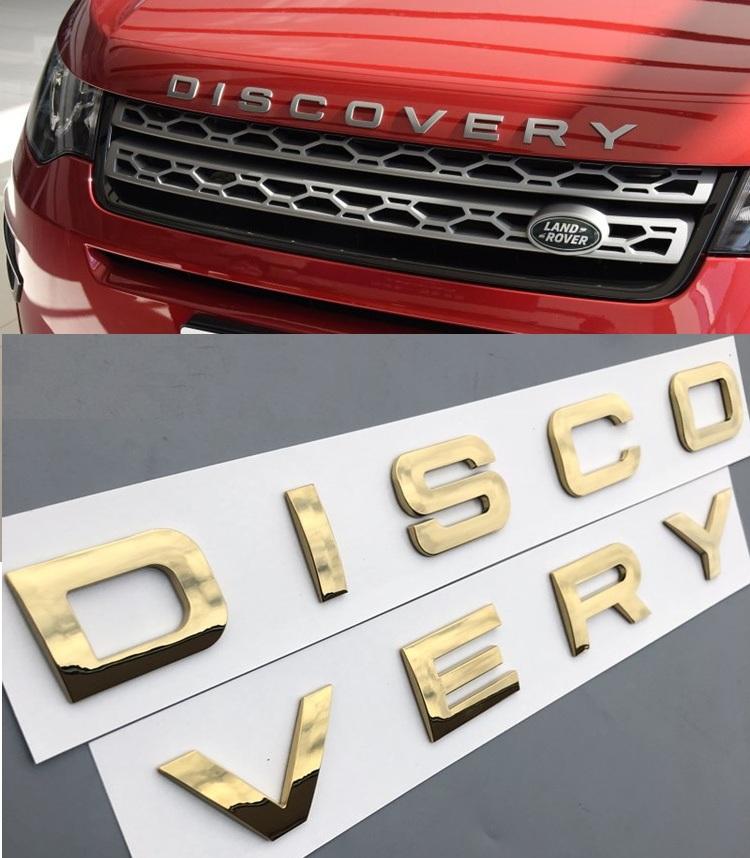 Decal Tem Chữ Discovery 3D Dán Trang Trí Ô Tô Màu Vàng AZONE