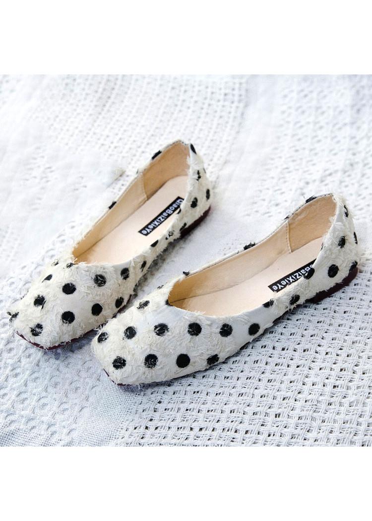 Giày Búp Bê Hoạt tiết Chấm Bi
