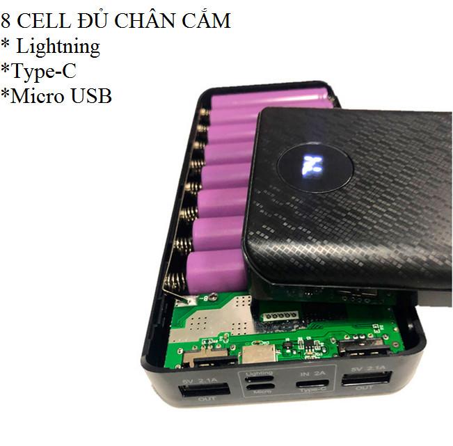 Box sac dự phòng 8 cell đủ chân cắm lightning/typeC/micro usb dùng pin 18650 (chưa pin)