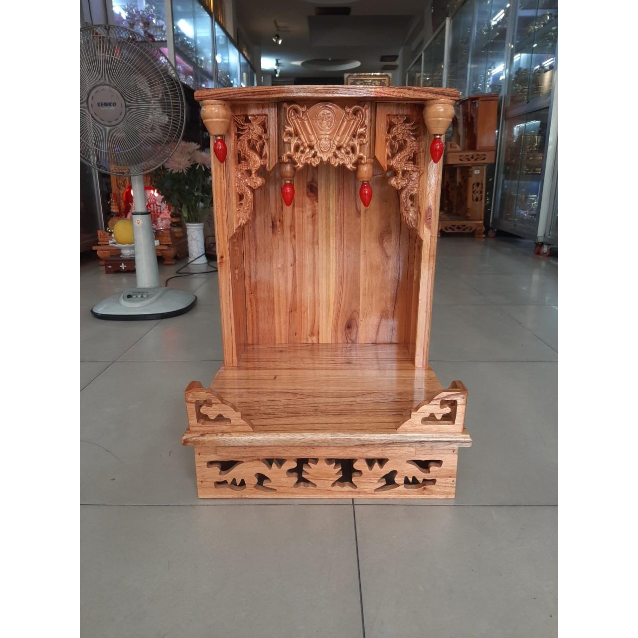 Bàn thờ Thần Tài Ông Địa đẹp gỗ Xoan ngang 40 cao 60 , Mã sản phẩm X4 - Đồ Thờ Thắng Duyên Đại Phát